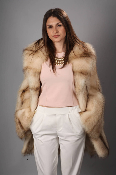 Beige Raccoon Fur Coat