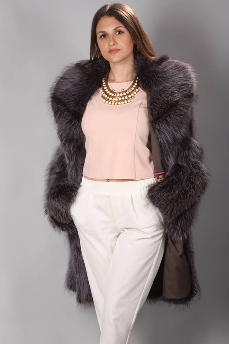 Purple Raccoon Fur Coat