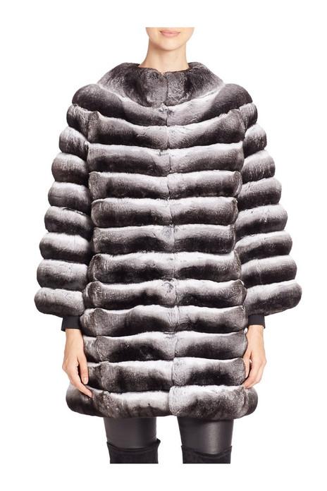 Luxury Genuine Chinchilla Fur Jacket Mid Hip