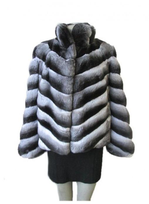 Chinchilla fur coat with Collar
