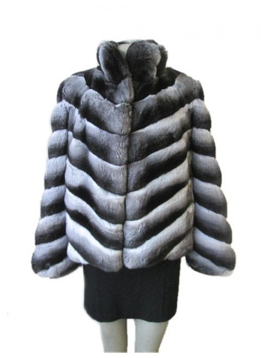 Chinchilla fur coat with Collar