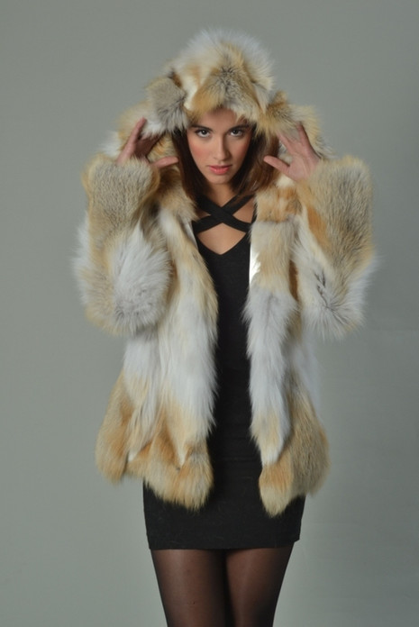 Golden Island Fox Fur Coat Hooded