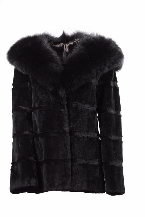 SHEARED Black BEAVER FUR COAT HOODED WITH FOX FUR COBRA FUR HOOD