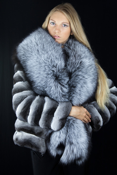 chinchilla fur jacket silver fox fur collar