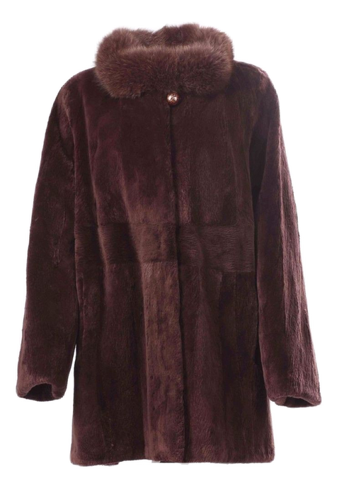 Purple Beaver Fur Coat Fox Collar