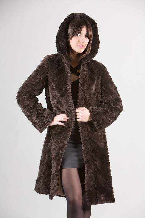 Brown Beaver Fur Coat Hooded Sculpted Knee Length