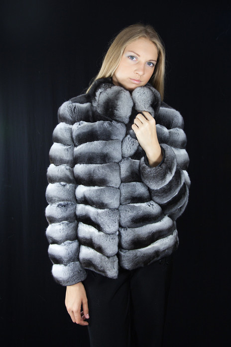 chinchilla fur jacket  with stand up collar front view