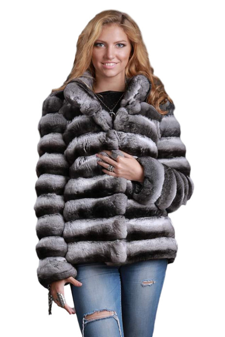 Chinchilla Coat  V-neck Collar