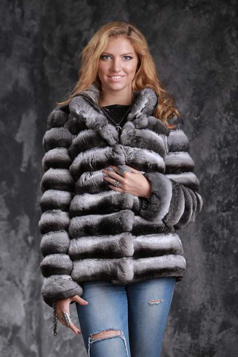 chinchila coat with v neck collar