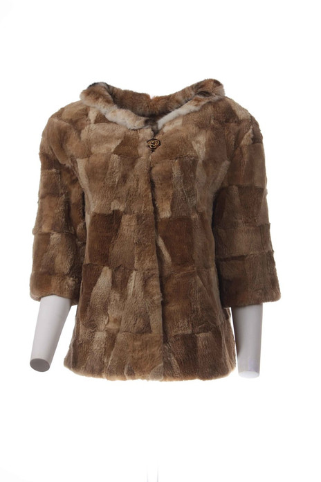 Brown Beaver Fur Jacket Low cut