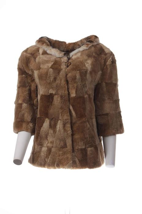 Brown Beaver Fur Jacket Low cut