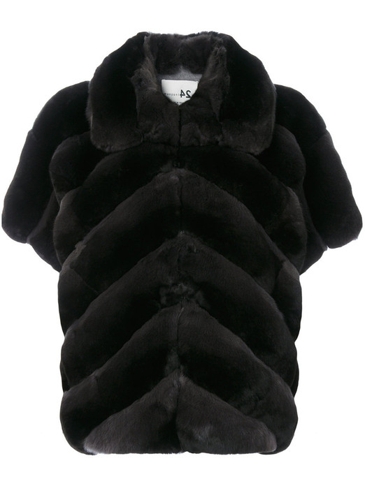 black chinchilla jacket with short sleeves chevron pattern stiching