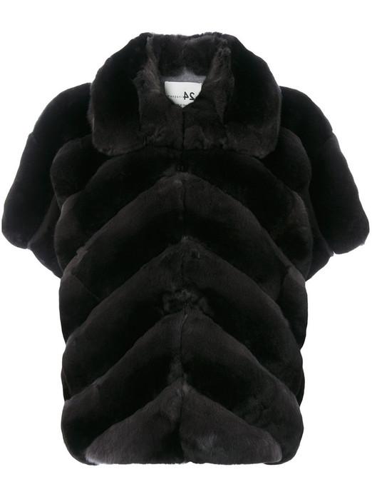 black chinchilla jacket with short sleeves chevron pattern stiching