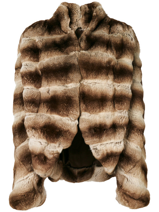 Chinchilla Fur Jacket coffe cream with v cut on bottom hem