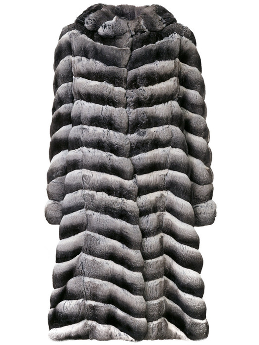 long chinchilla coat with hood ending in turtleneck collar