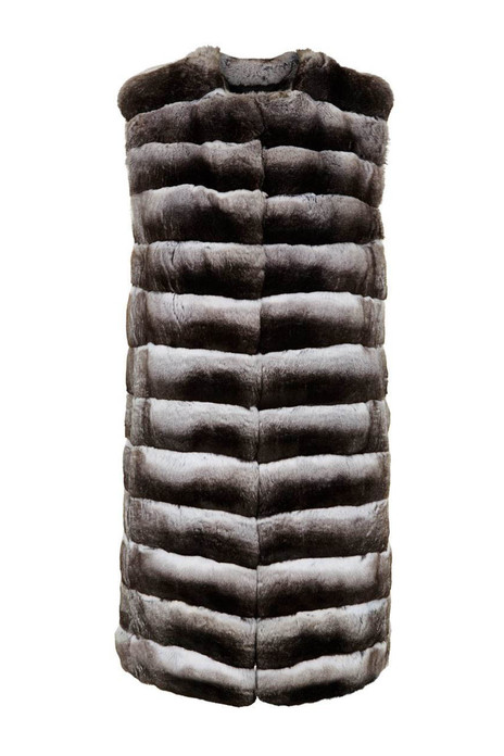 Long Chinchilla Vest ,collarless, natural color