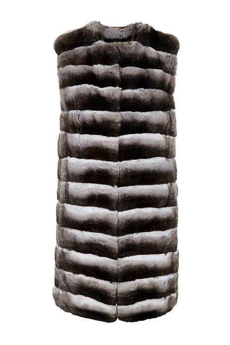 Long Chinchilla Vest ,collarless, natural color