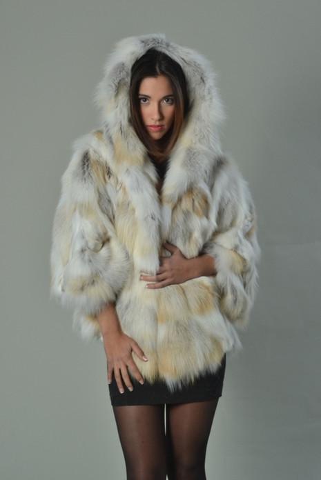 Golden island Fox Fur Cape Hooded
