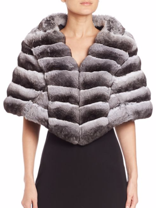 Chinchilla Fur Cape v-neck o n model with black dress