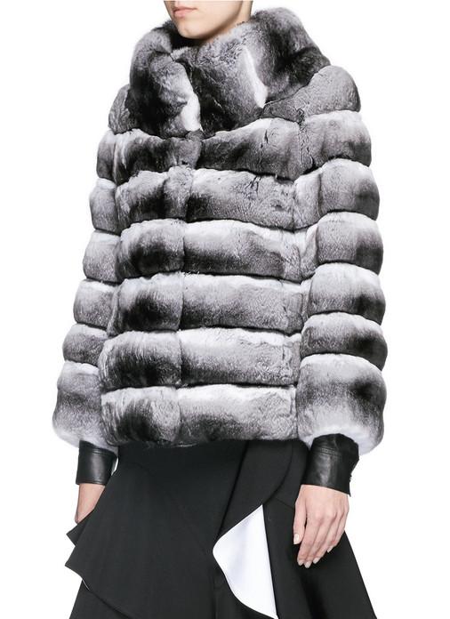 Chinchilla  Jacket Turtle Neck Collar waist length worn over leather jacket and designer dress