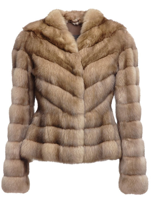 golden russian sable fur jacket fit in waist diagonal stitching  front view