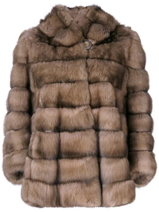 golden russian sable fur coat with hood front view on ghost mannequin