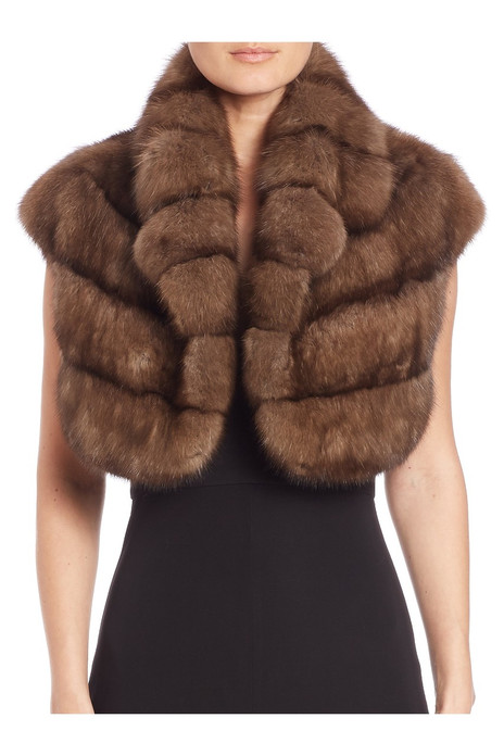 Sable fur etol with epaulettes  and stand up collar front view on model