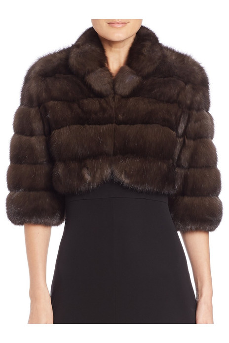 brown sable fur bolero with pelts stitched across , mid torso length and elbow length sleeves front view on model
