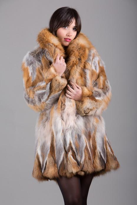 Red  Fox Fur Coat with shawl fox fur collar knee length fit in waist