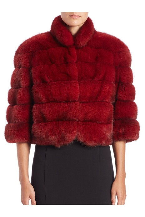 red sable fur jacket waist length with elbow length sleeves on model wearing black knee length dress
