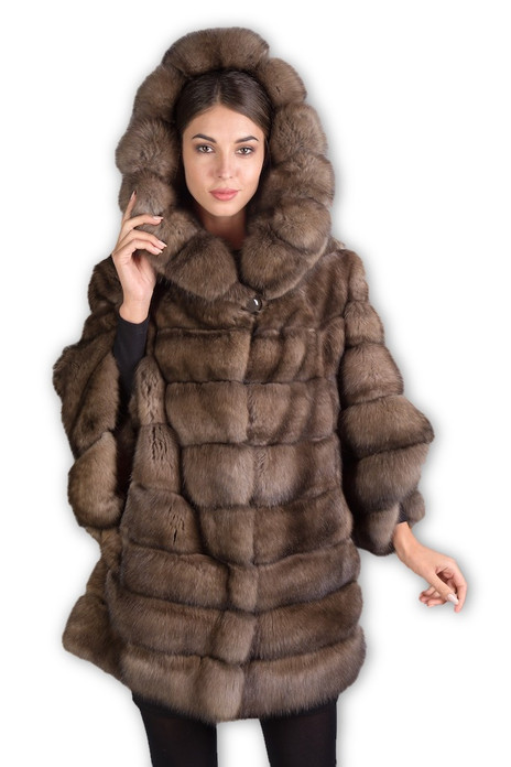 light brown  russian sable fur coat hooded , with bell bottom sleeves , mid hip length