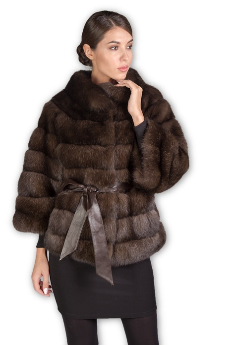 brown sable fur jacket with rounded collar , 4/5 length sleeves , hip length and silk belt