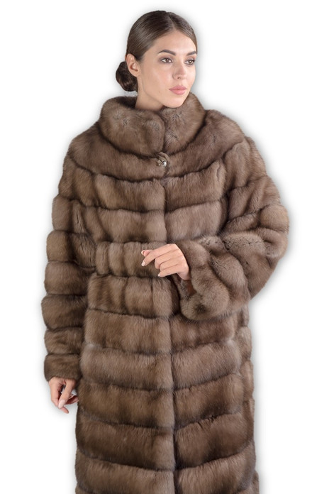 light Sable Fur Coat with rounded collar  worn by model close body view