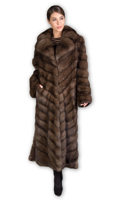 full length , brown russian sable fur coat with notched collar  and diagonally stitched pelts