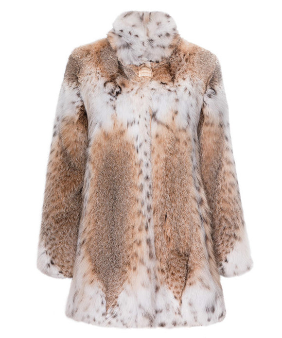 lynx fur coat mid-hip length , fit in waist , sewed with white lynx fur on collar , chest height and bottom sweep