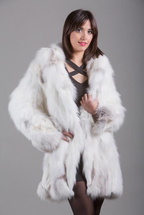 arctic  Fox Fur Coat with shawl fox collar front view