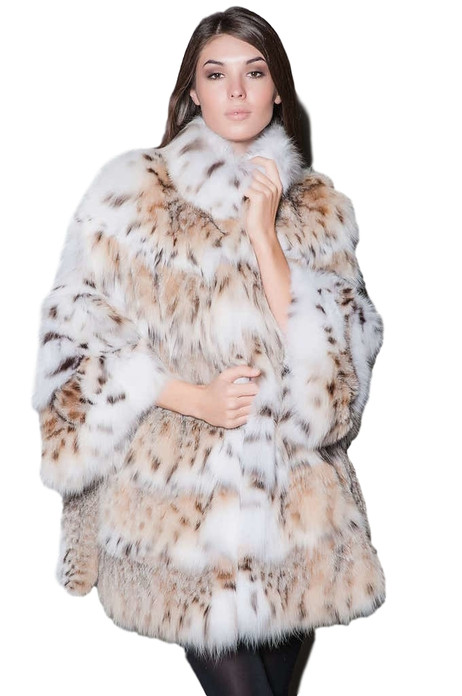 lynx fur coat with all white lynx fur rounded collar and bell bottom sleeves , skins sewed horizontally