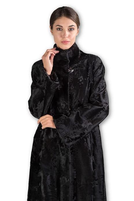 Full Length Broadtail Lamb Fur Black Swan
