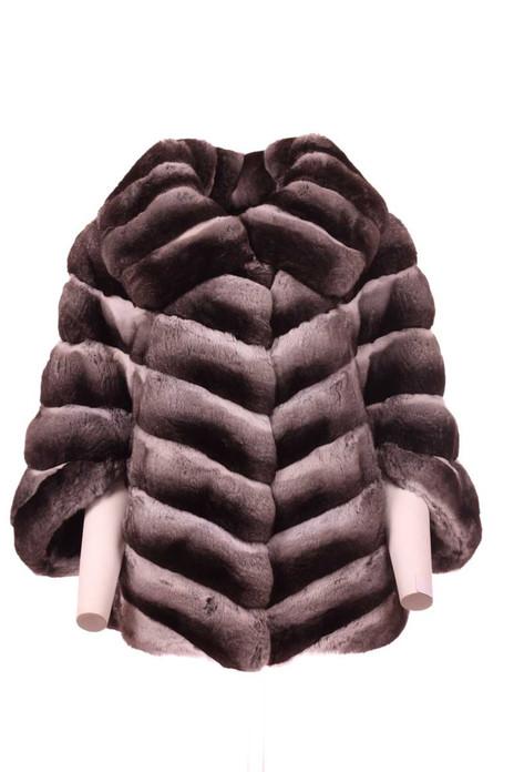 chinchilla fur cape pelts stiched diagonally front view