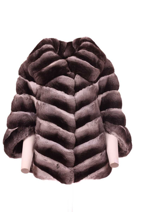 chinchilla fur cape pelts stiched diagonally front view