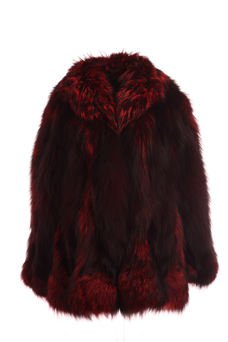 burgundy  red  Fox Fur coat with shawl collar  waist length front  view