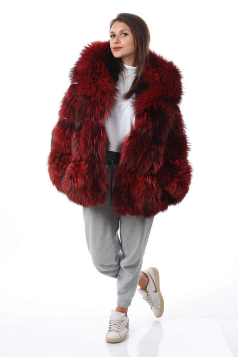 red fox fur coat with shawl collar pelts stitched across  front view on model
