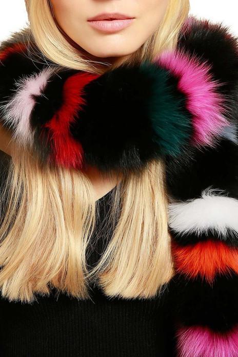 multicolor fox fur scarf rainbow
