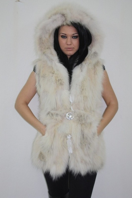 off white  Fox Fur Vest Hooded with elastic belt  sizes Xs to XXXL