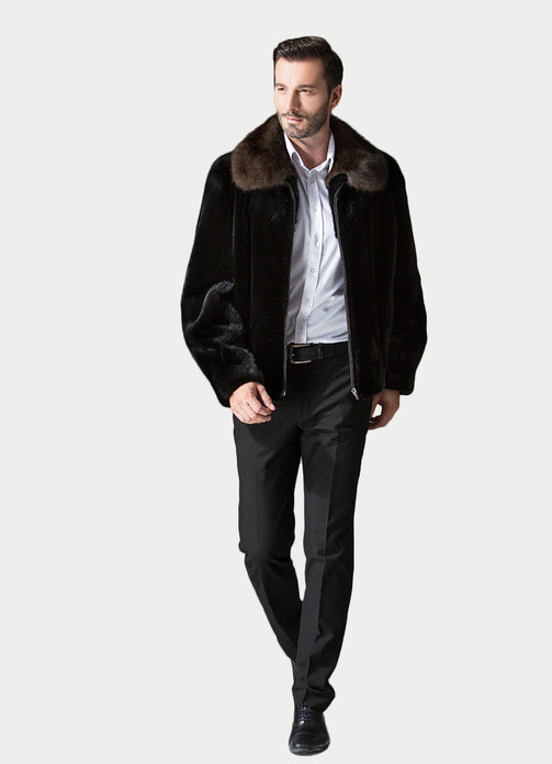 Mens Mink Fur Coat Black with Mahogany mink fur  Collar on male model matching with white shirt dark gray pants and  leather shoes
