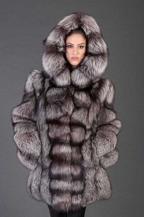 Silver Fox Fur Coat Hooded Rihanna