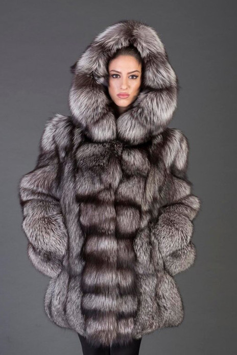 Silver Fox Fur Coat Hooded Rihanna