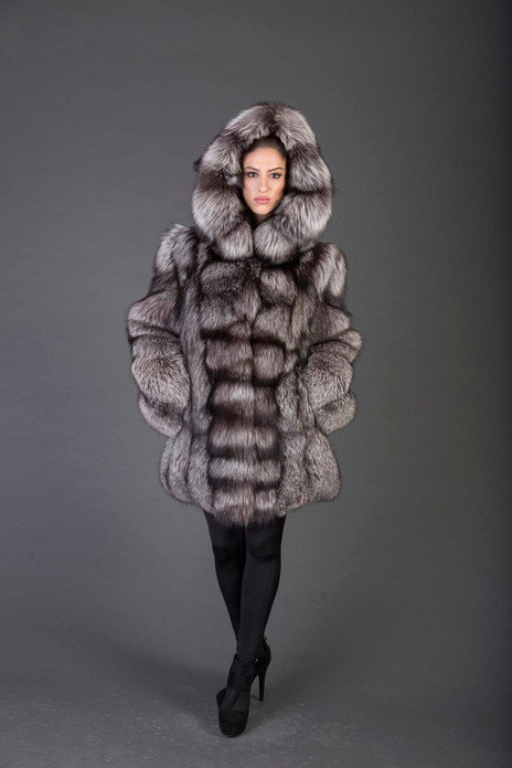 silver fox fur coat with hood on model  fully let out main bod waterfall hem