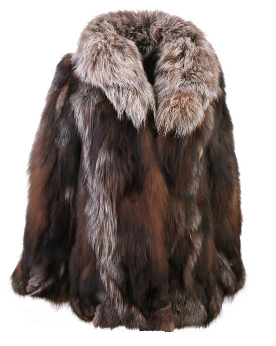 crystal fox fur coat with shawl fox collar waist length