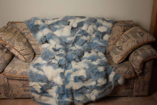 Blue White Fox Fur Blanket Throw on sofa available in throw  , twin , queen and king size